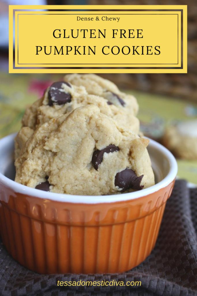 Dense & Chewy Gluten Free Vegan Pumpkin Cookies #glutenfree #vegan #pumpkin