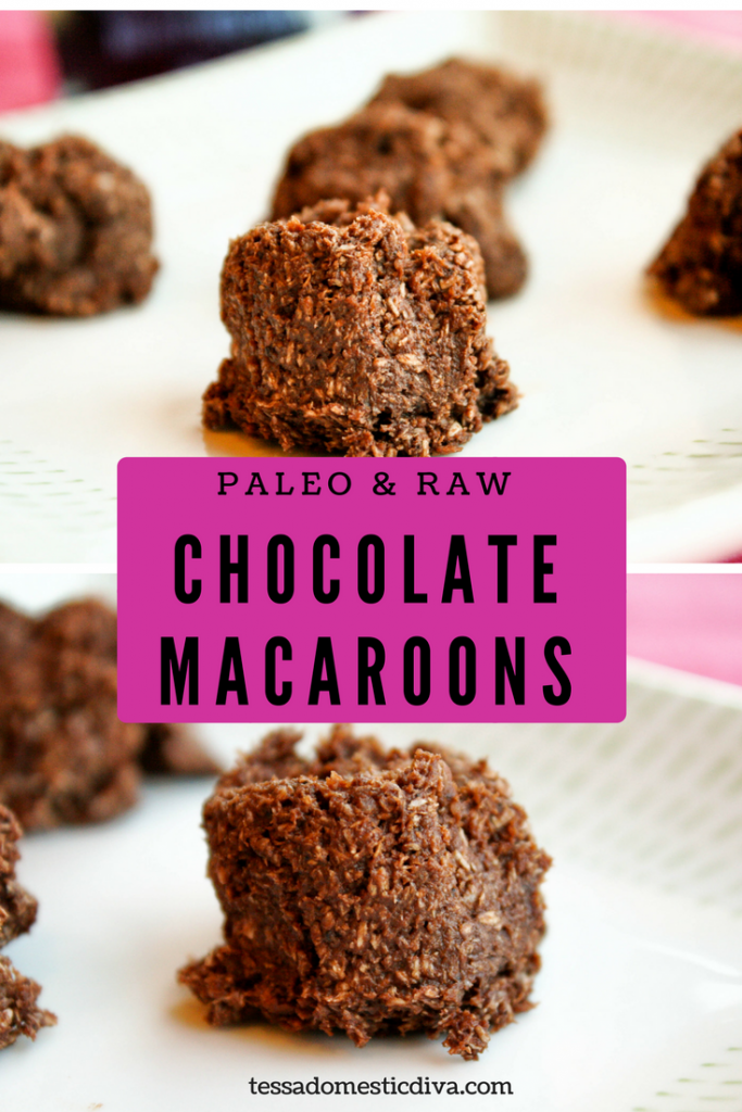 optimized for pinterest collage of paleo chococlate macaroons on a white plate, eye level