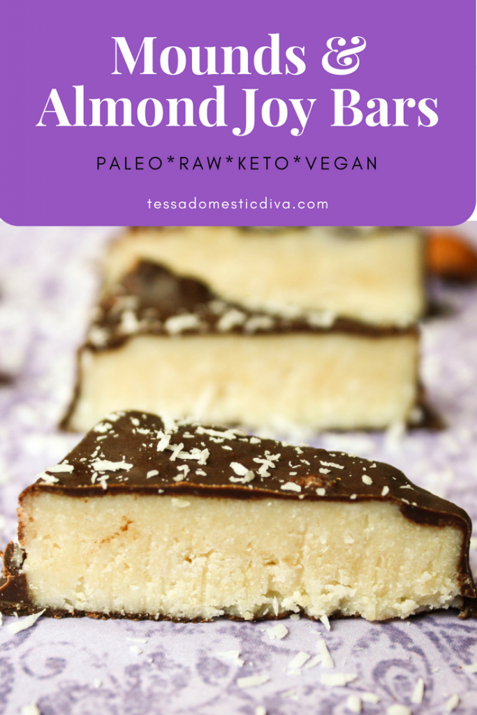 optimized for pinterest paleo almond joy on a lavender surface sprinkled with coconut shreds