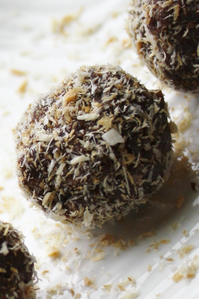 Paleo & Raw Fudge Brownie Bites w/ Toasted Coconut