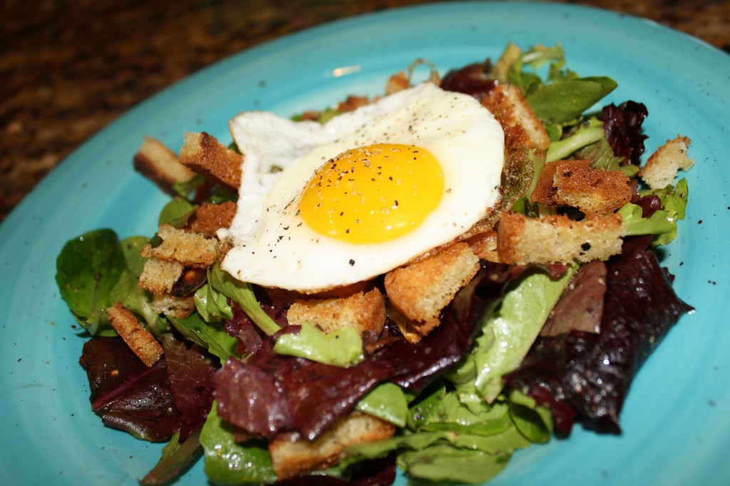 Fried Egg Green Salad w/ Warm Croutons