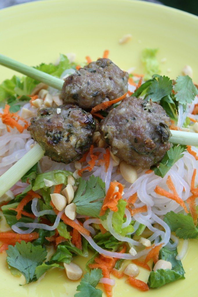 Asian Roasted Pork Meatballs atop Vietnamese Salad