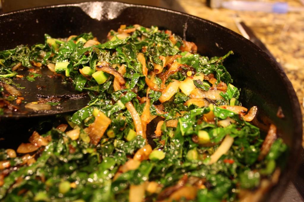 Sauteed Kale w/ Caramelized Onions