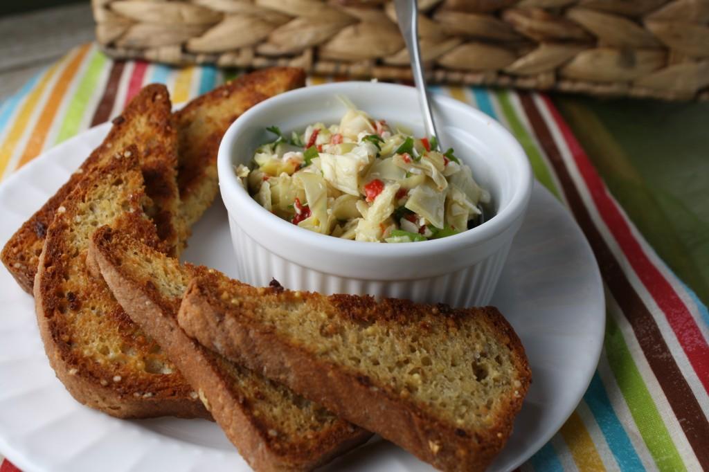 Cold Artichoke Dip w/ Garlic Crostinis - Gluten Free & Paleo