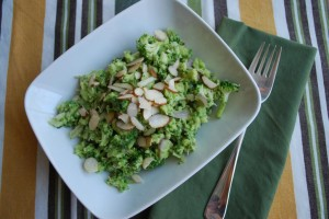 Raw Broccoli Salad w/ Avocado Dressing