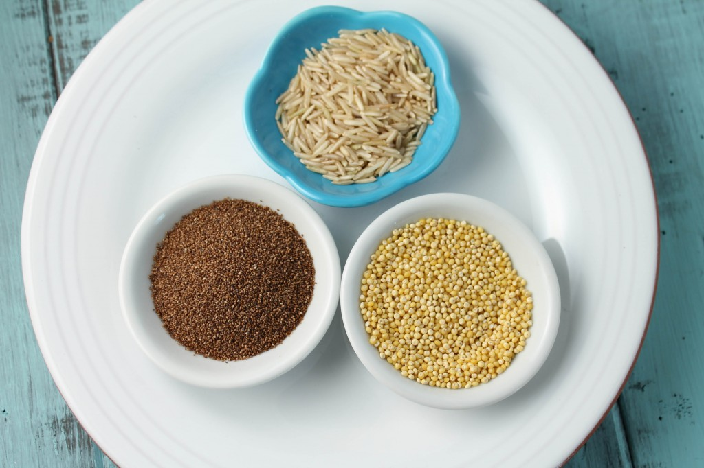 Teff, millet, and brown rice grains