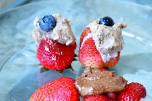cashew Fig Cream Stuffed Strawberries