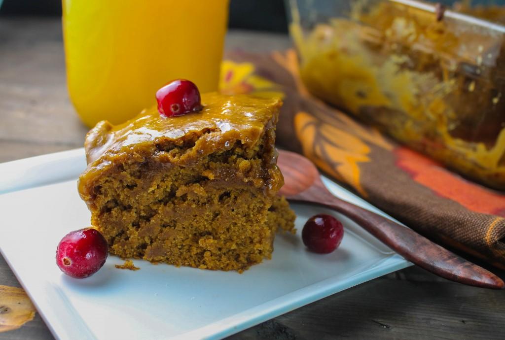 Pumpkin Cake w/ a Caramel Glaze - Gluten Free | Vegan