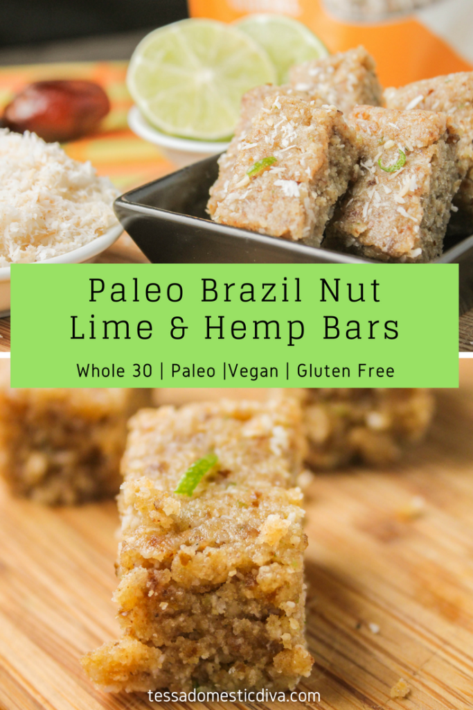 Paleo Brazil Nut Lime & Hemp Bars #hemphearts #paleosnacks #whole30snacks #vegan #brazilnuts #hemprecipes