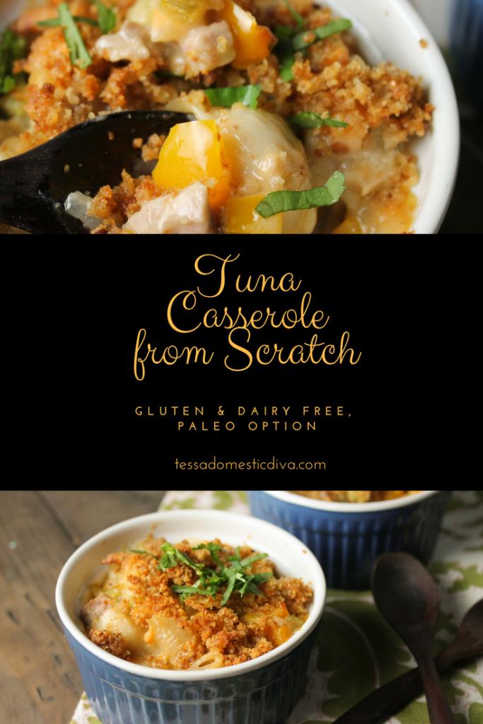 pinterest collage of gluten free dairy free tuna casserole from scratch