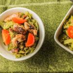 Paleo Pesto Spaghetti Squash w/ Crispy Chicken & Bacon