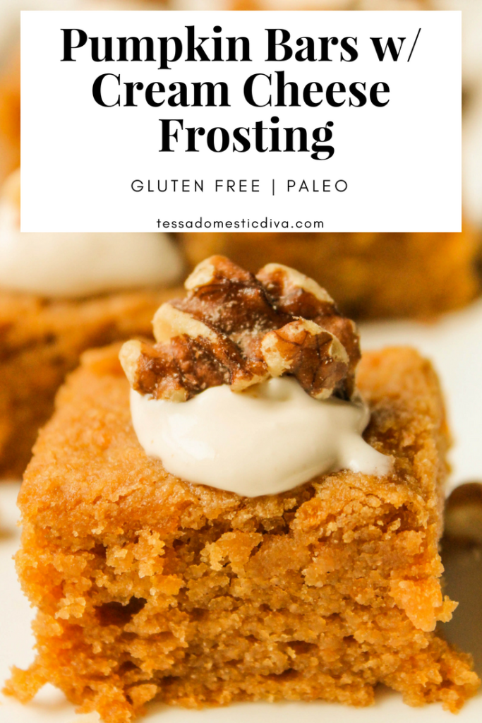 Paleo Pumpkin Bars w/ Brown Butter Cream Cheese Frosting #glutenfree #paleo #lowcarb