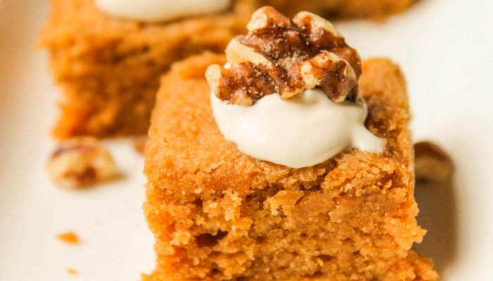 Paleo Pumpkin Bars w/ Maple Brown Butter Cream Cheese Frosting – Low Carb