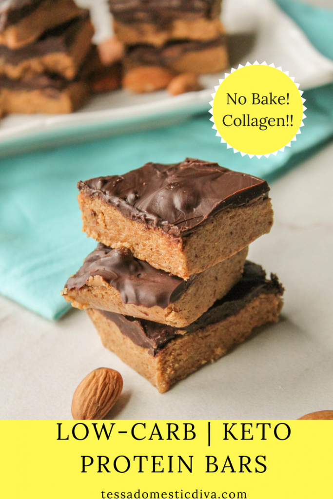 optimized for pinterest low carb keto protein bars with creamy chocolate topping stacked with whole almonds sprinkled around