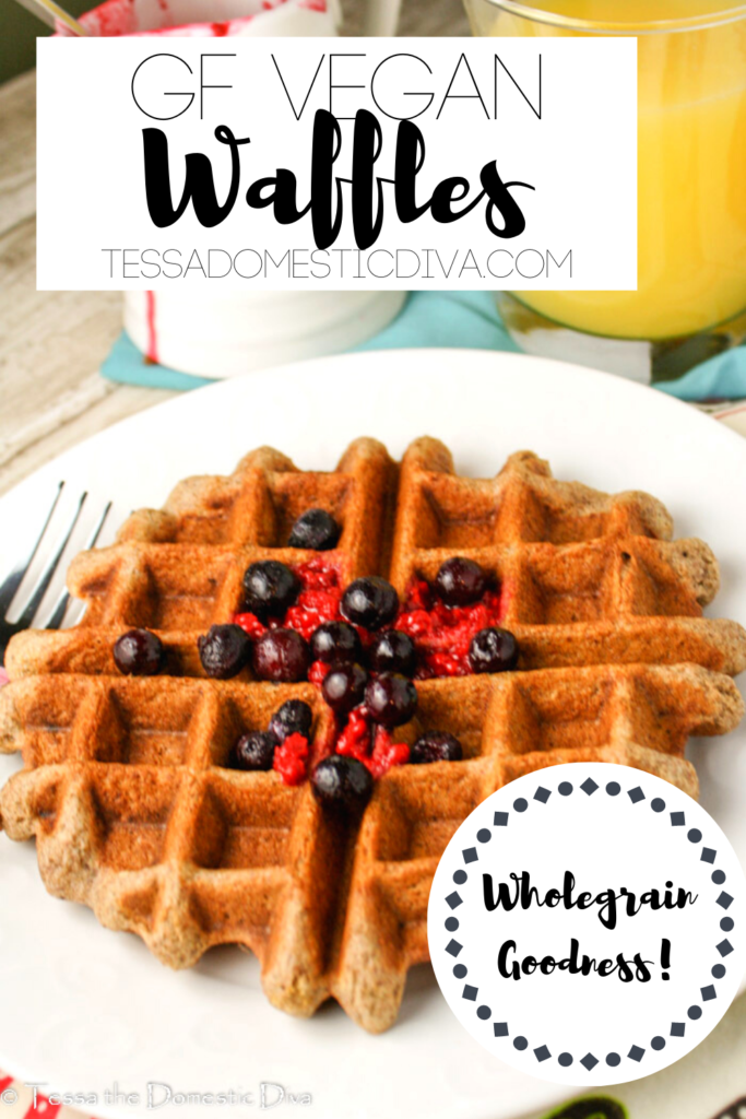 pinterest ready white plate with a golden gluten free vegan waffle topped with fresh berries