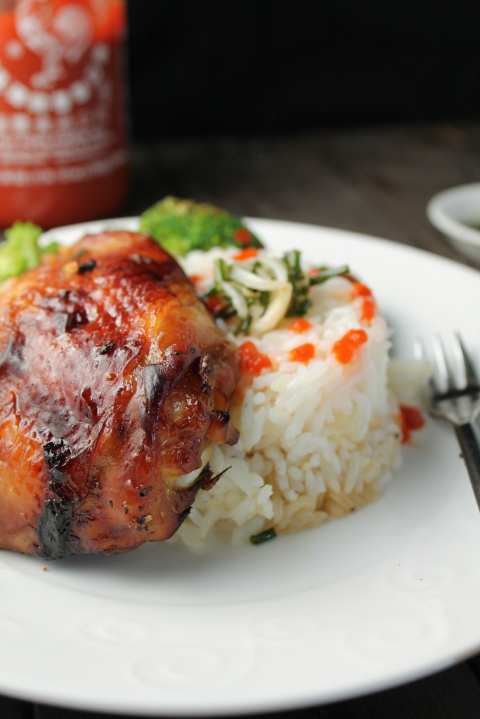 a crispy skinned roast chicken thigh with sticky rice and green onion oil drizzled on top