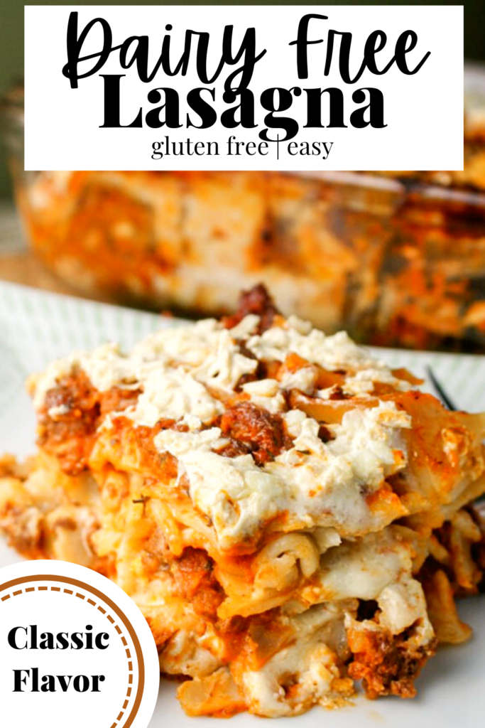 pinterest ready close up of a square slice of lasagna with a creamy white topping