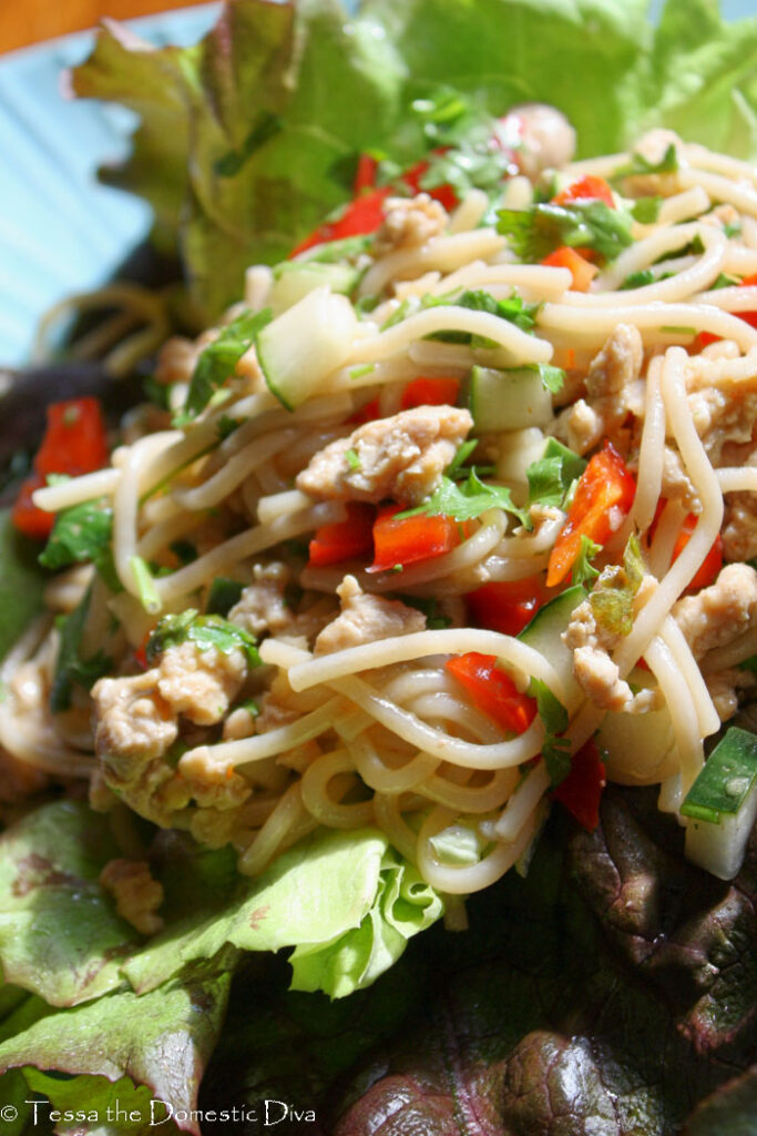 spaghetti noodles with fresh red peppers, cucumbers, ground chicken, and cilantro atop a lettuce leaf