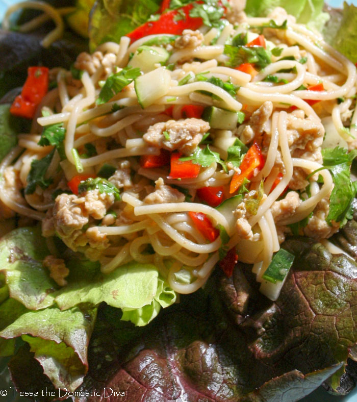 Asian noodles with fresh red bell pepper, chopped cilantro, ground beef, and cucumber on a lettuce leaf
