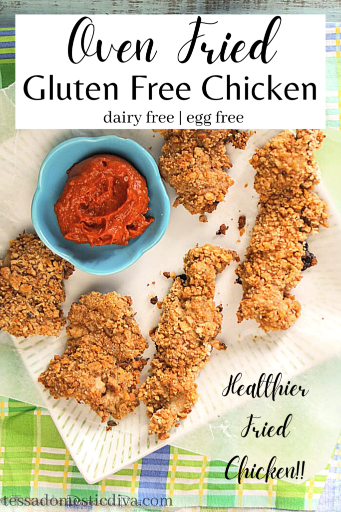 pinterest ready chicken tenders in a crispy coating from overhead on a white square plate