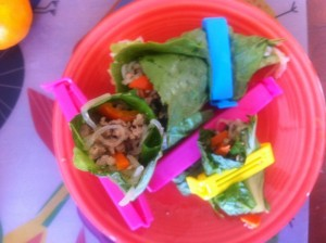 overhead view of bag clipped Asian lettuce wraps on red plate