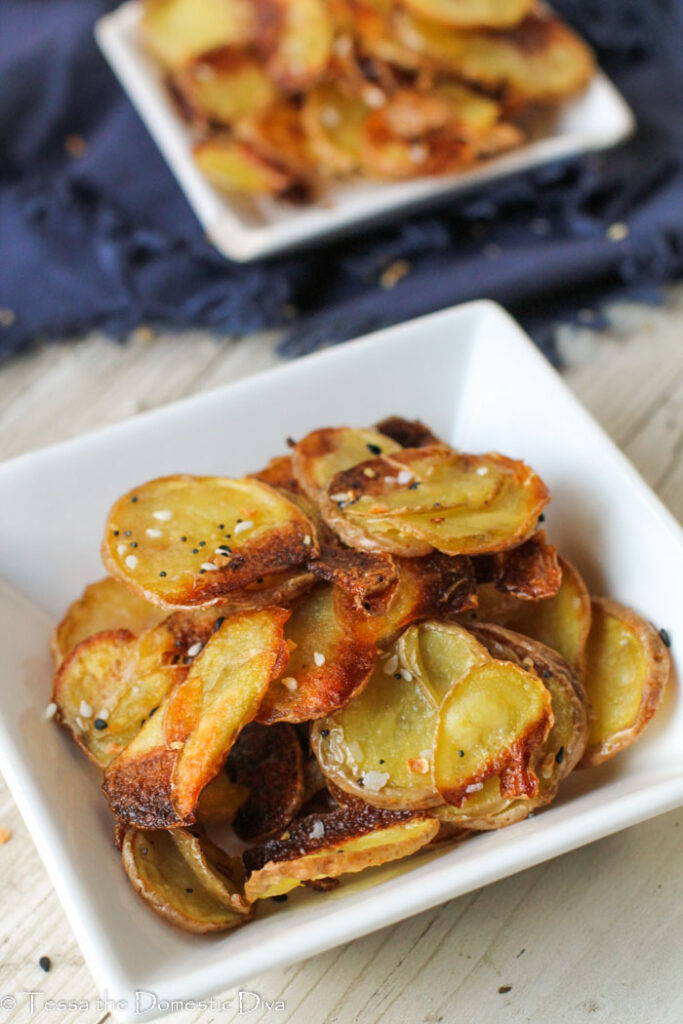 close up of sliced roasted potatoes