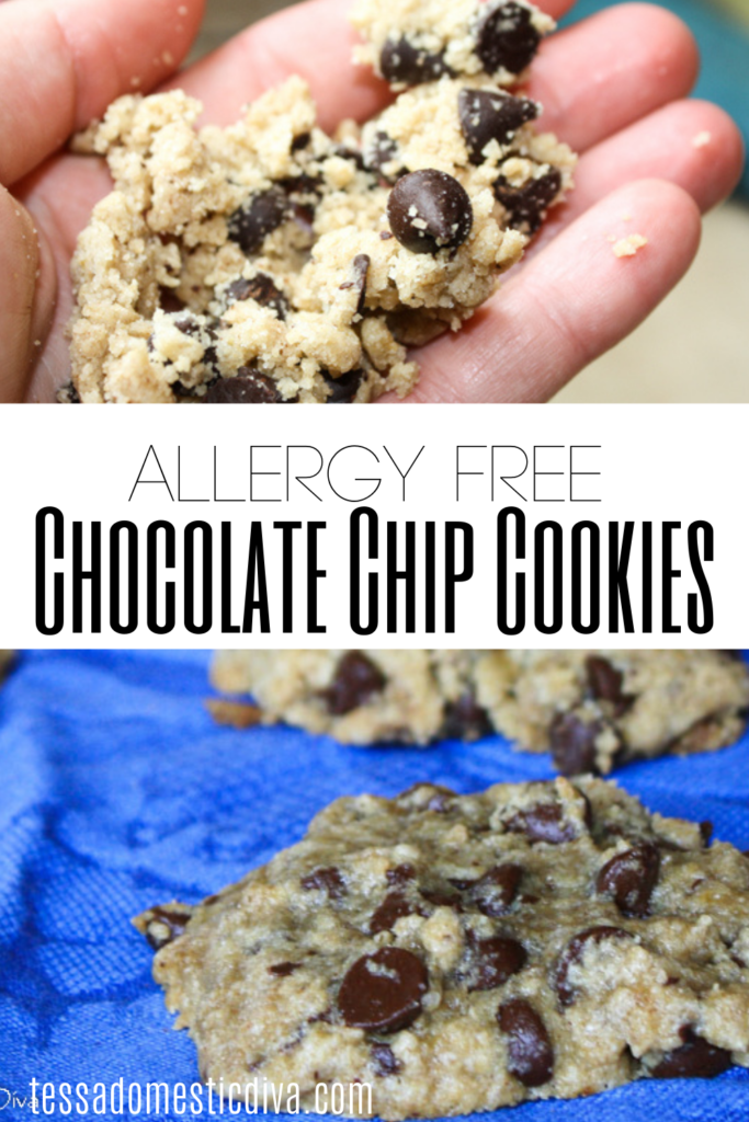 pinterest ready two image layout of allergy free chocolate chip cookies on a blue cloth