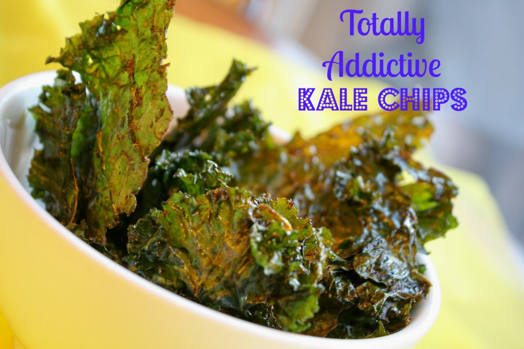 a white bowl filled with crispy baked dark green kale leaves on a bright yellow cloth