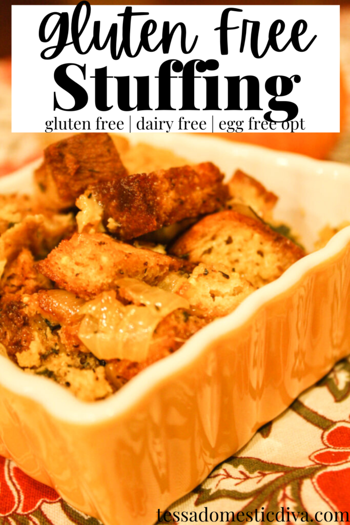 pinterest ready baking square baking dish with a homemade stuffing on a leaf themed cloth