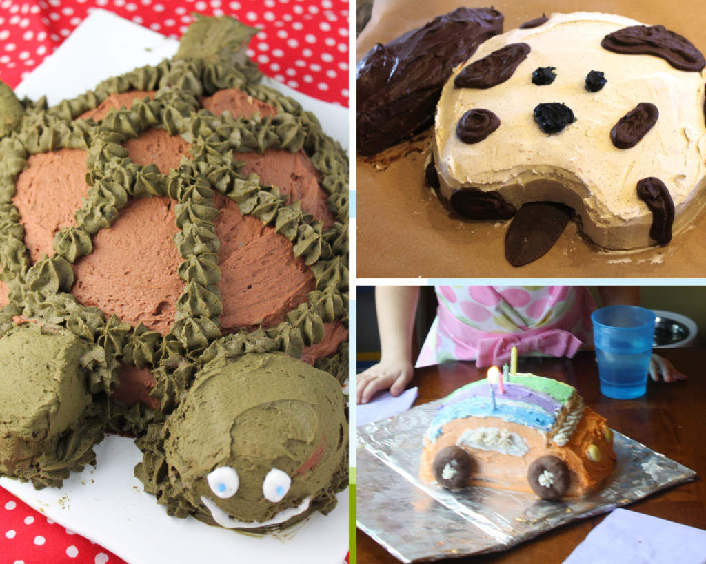 a collage of cut up birthday cakes for kids including a turtle cake, puppy cake, and beetle bug cake