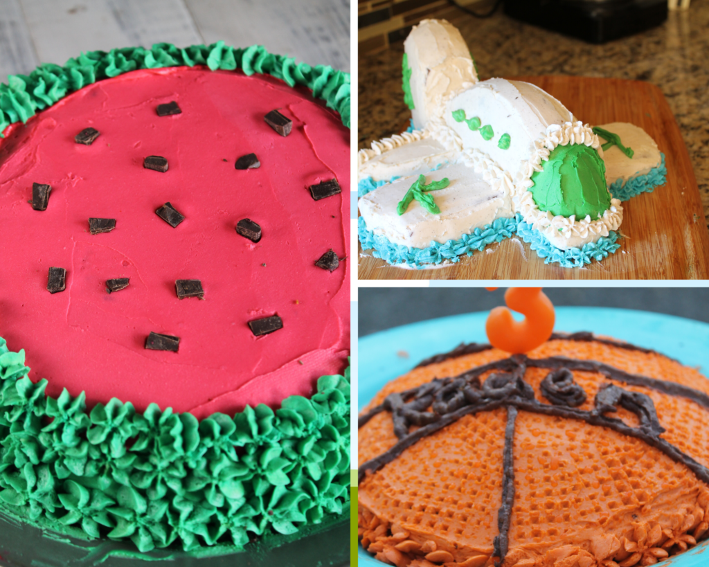 collage of cut up birthday cakes for kids including a watermelon cake, airplane cake, and basketball cake