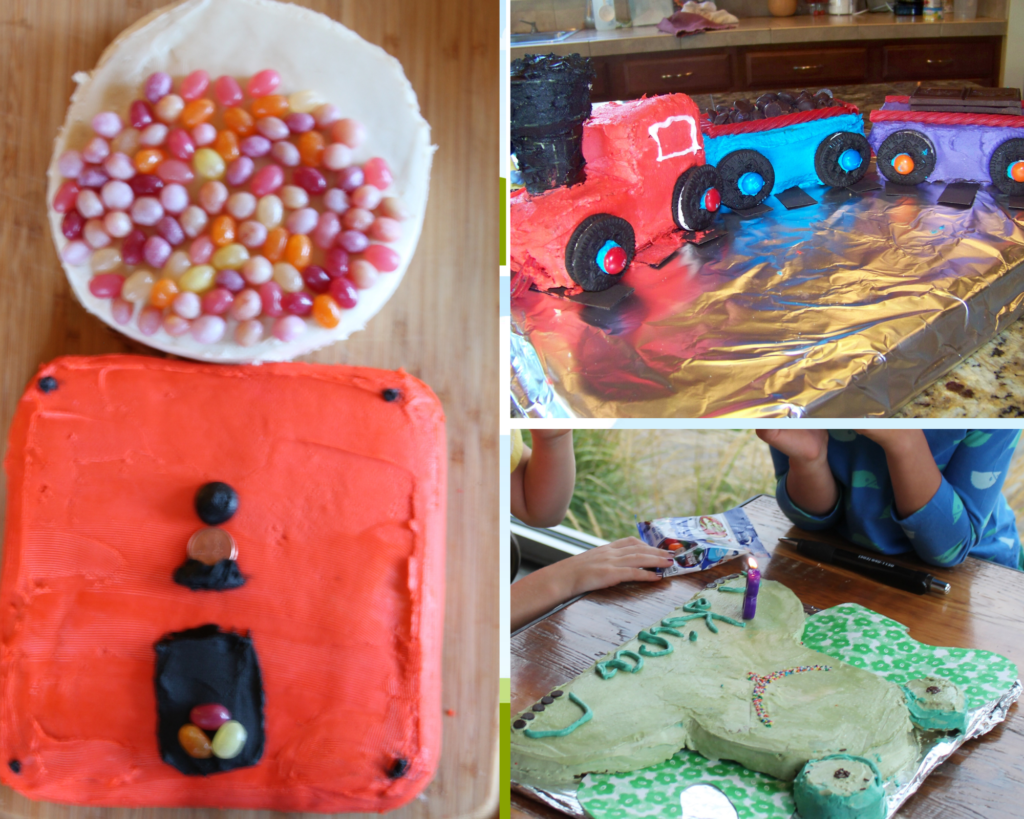a collage easy cut out cakes for kids including a gumball machine, train cake, and a frog shaped cake