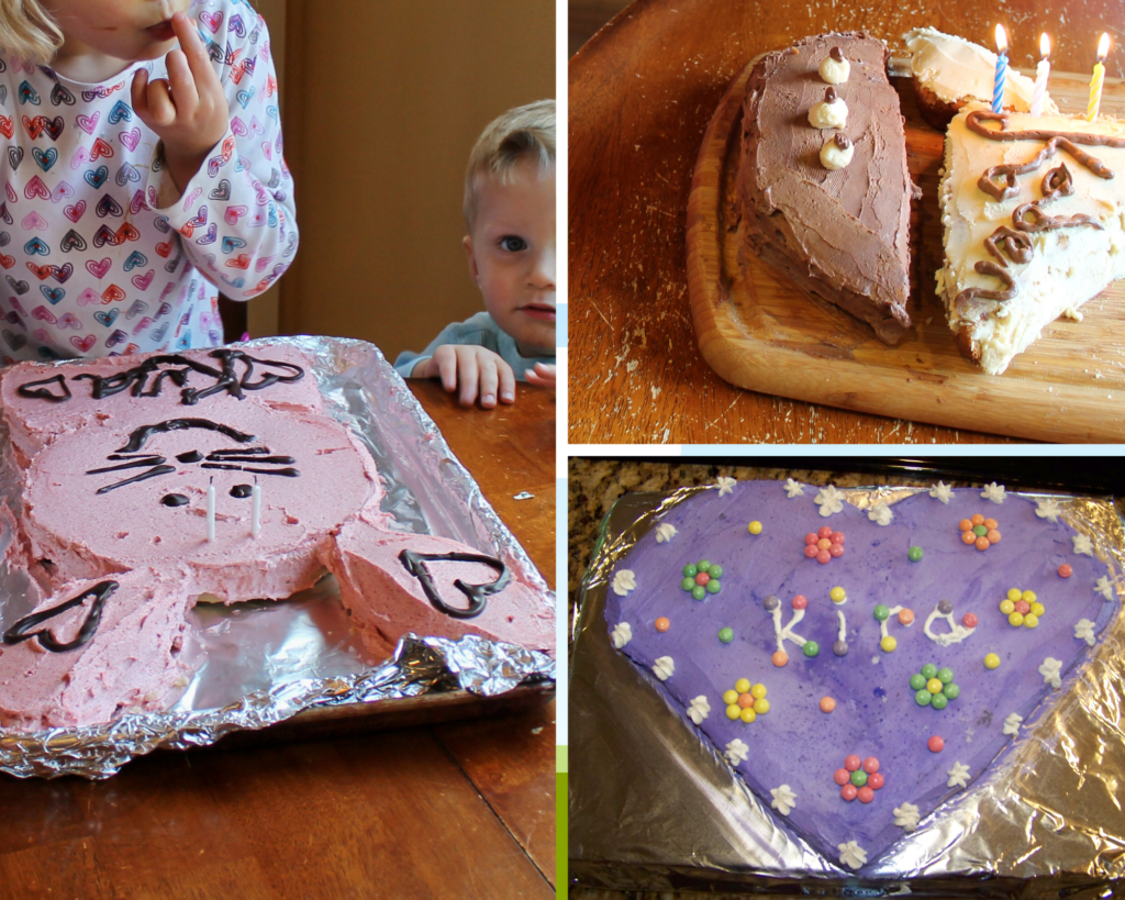 a collage of easy cut out cakes for kids including a bunny cake, heart shape cake, and a pirate ship cake