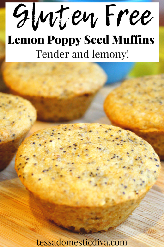 pinterest ready lemon poppy seed muffins arranged on a bamboo cutting board