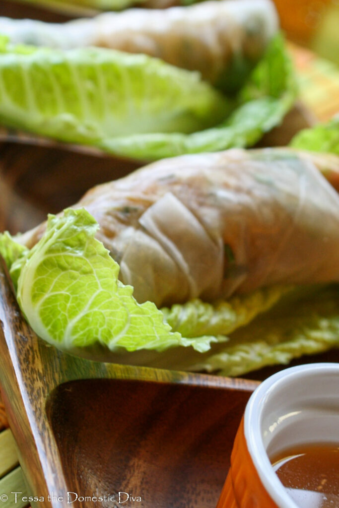 close up of one veggie salad roll wrapped in rice paper.
