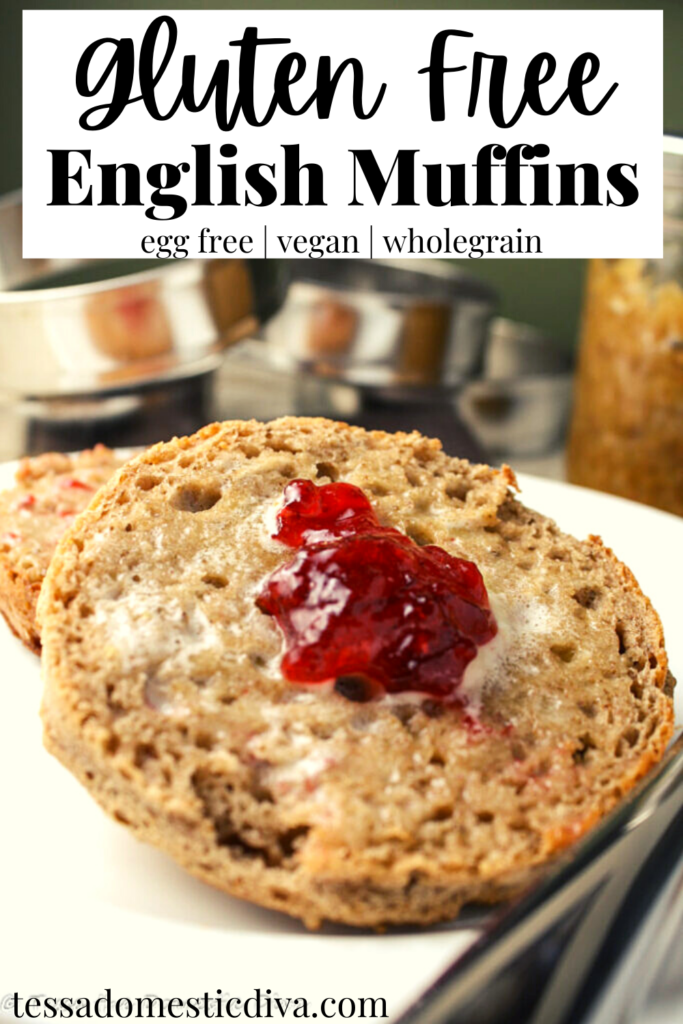 pinterest ready wholegrain english muffins halved and slathered in butter and topped with jelly