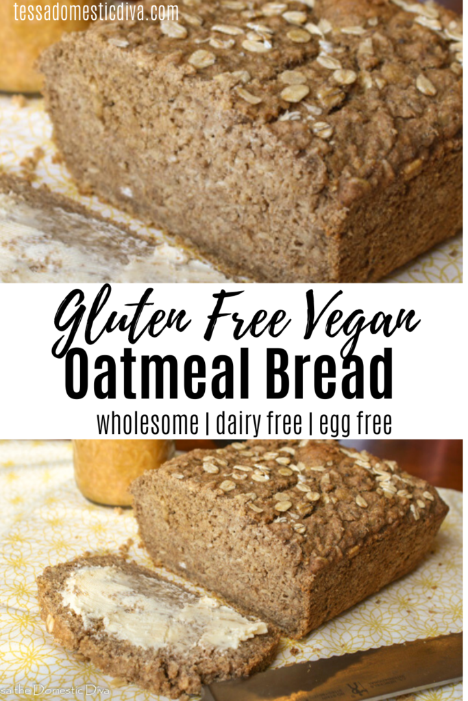 pinterest ready two image layout of a sliced loaf of oatmeal bread topped with rolled oats and jam in the background