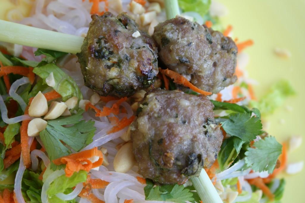 Asian Roasted Pork Meatballs atop Vietnamese Salad