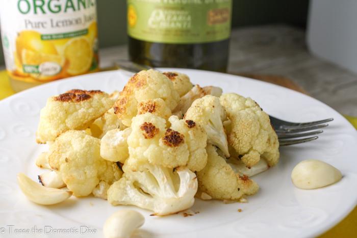 eye level roasted cauliflower with lemon and garlic.
