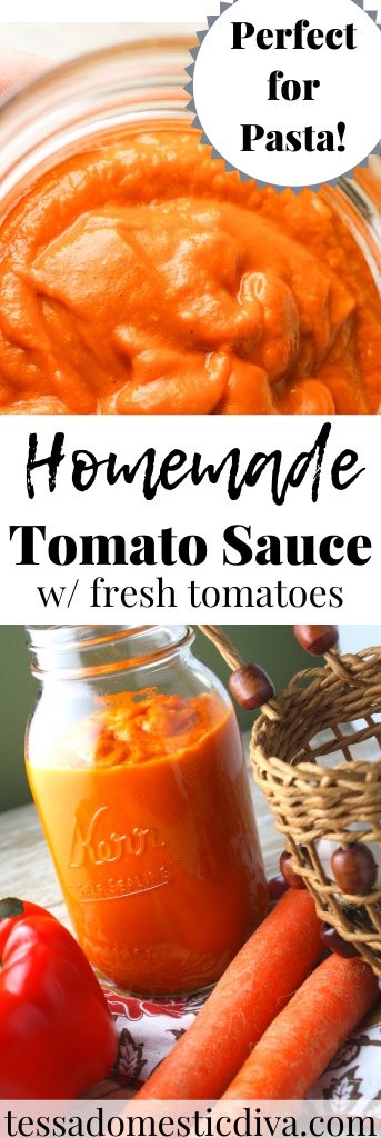 pinterest ready image of a bright orange homemade tomato sauce in a mason jar with assorted vegetables at base