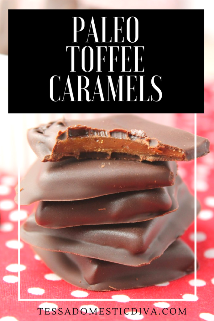 optimized for pinterest 5 chocolate dipped paleo toffee squares stacked on top of a red with white polka-dot cloth