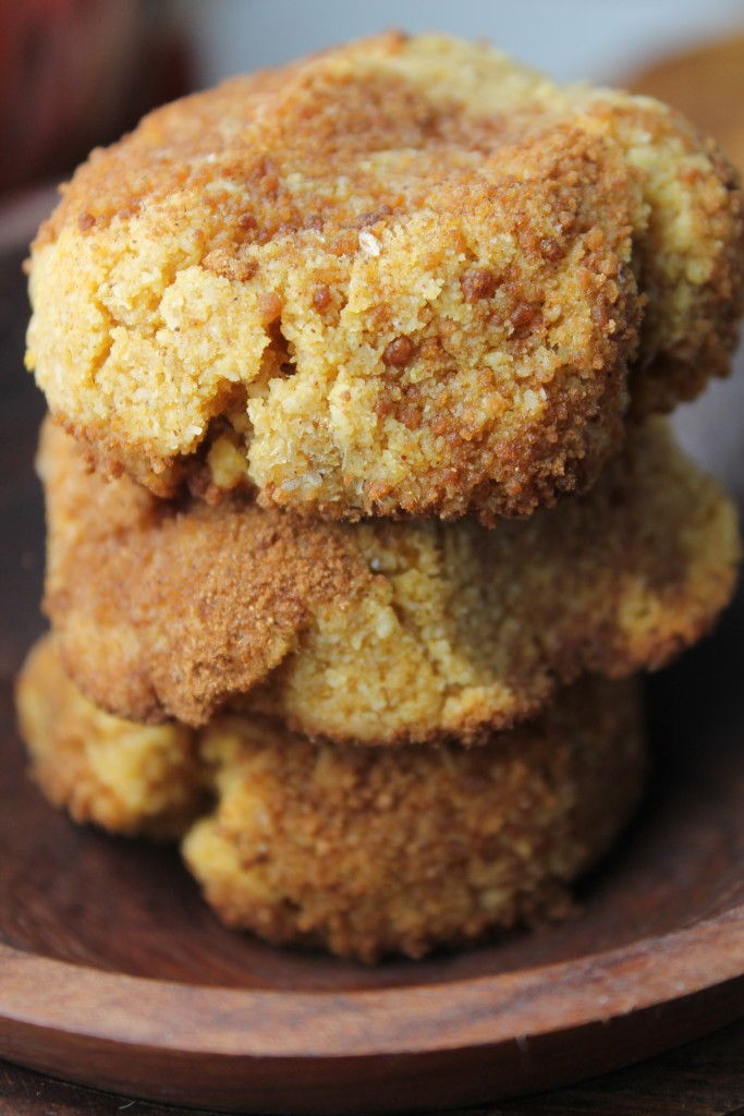 vertical image close up eye level of three paleo vegan pumpkin snickerdoodles with a caramelized palm sugar and cinnamon coating