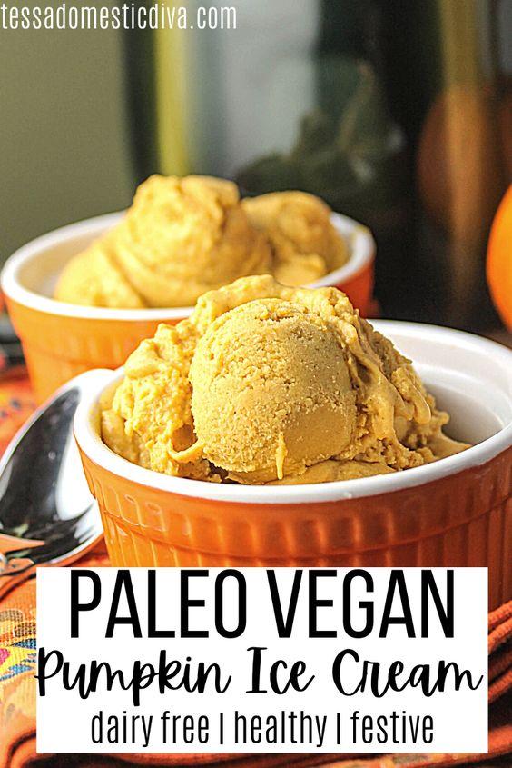 pinterest ready two orange ramekins filled with creamy orange pumpkin ice cream scoop