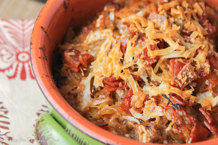 an close up of a parmesan topped pepperoni and ground beef spaghetti squash casserole