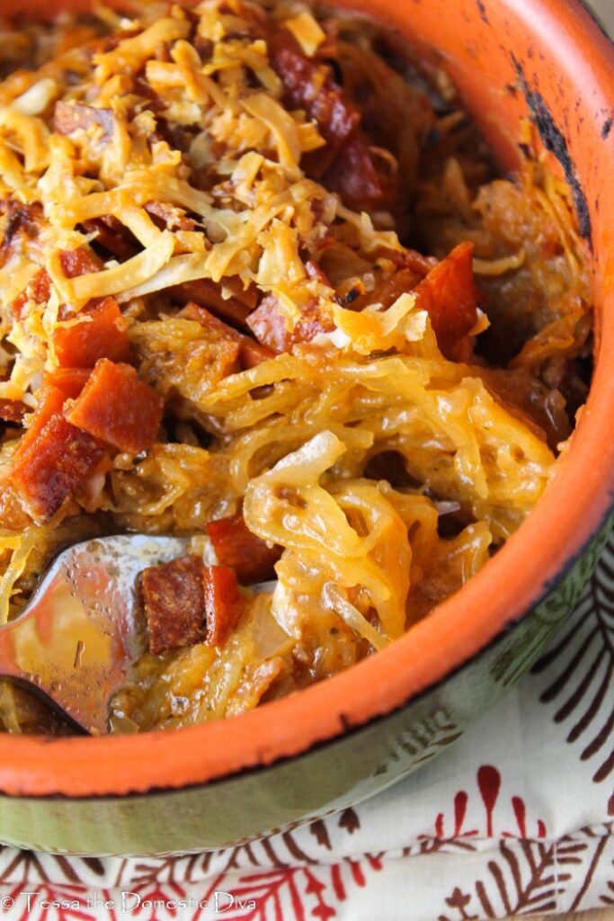 overhead view close up of a pepperoni and cheese spaghetti squash casserole
