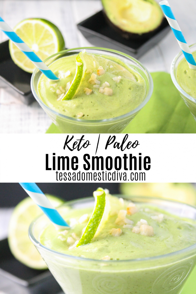 optimized for pinterest keto lime smoothie in a clear glass cup with a blue and white striped paper straw on a white washed wooden surface