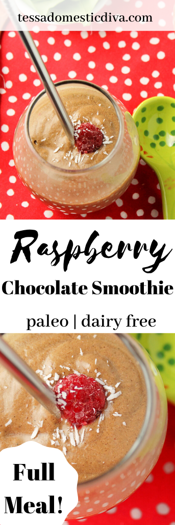 pinterest ready clear glass filled with a creamy chocolate smoothie topped with raspberry