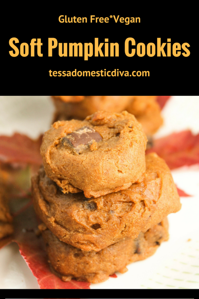 optimized for pinterest stacked gluten free soft pumpkin cookies studded with chocolate chips on a fall colored maple leaf