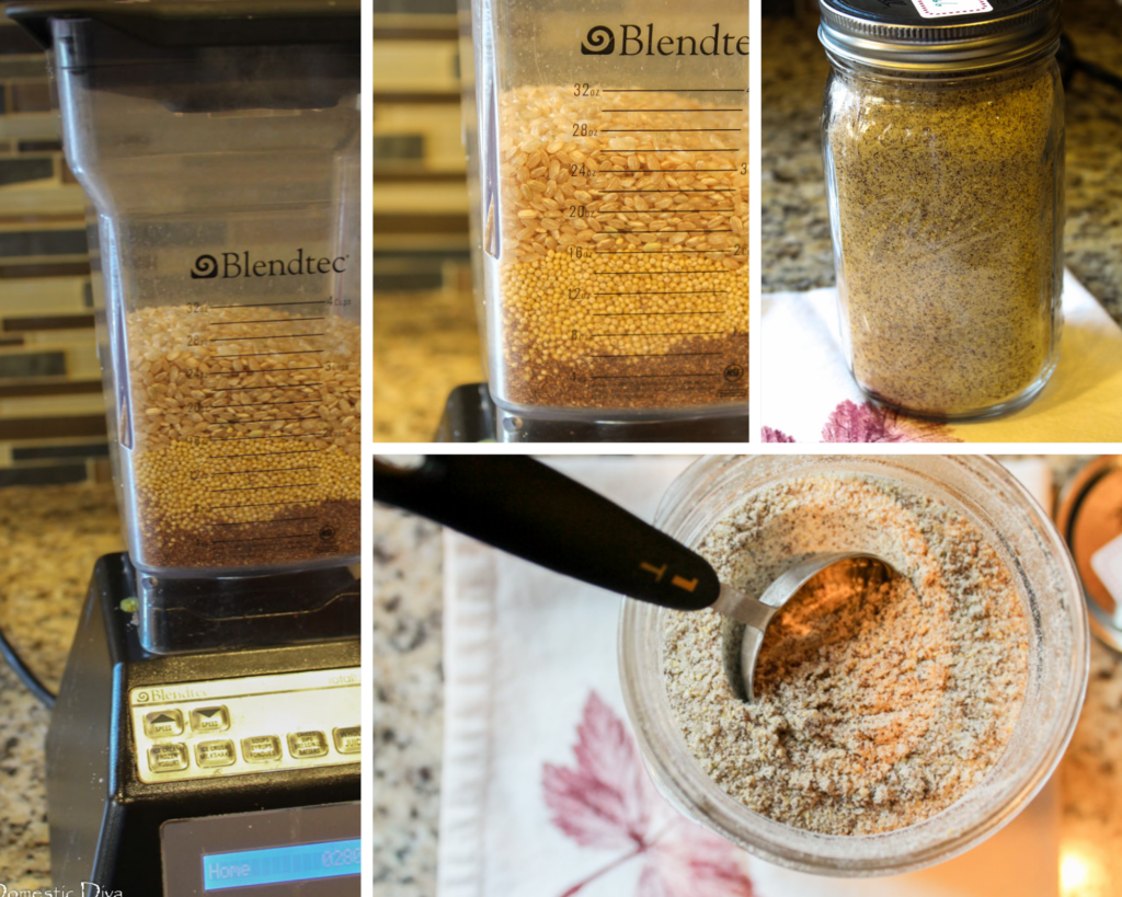 a progression of how to grind gluten free cream of wheat in your blender and store in a mason jar