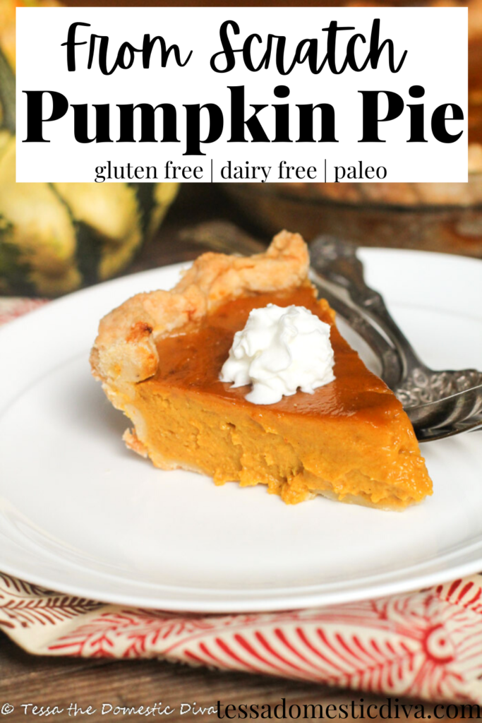 pinterest ready slice of pumpkin pie on a white plate with a dollop of whipped cream on a dark wood surface with a fall colored linen
